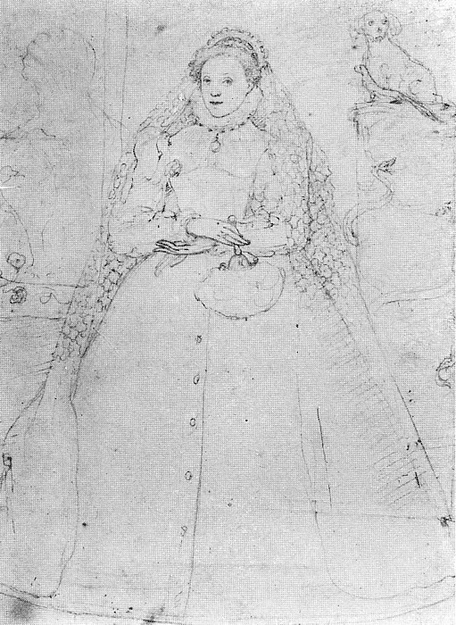 Elizabeth I by Frederigo Zuccaro, 1575. (British Museum)